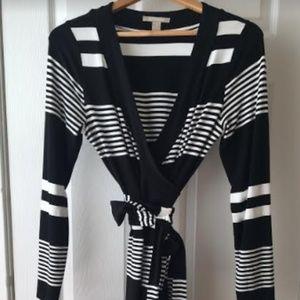 Banana Republic Black & White Stripe Wrap Dress